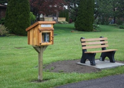 Street library and park bench